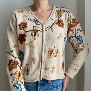 Reference Point Cardigan Embroidery Cropped Fall